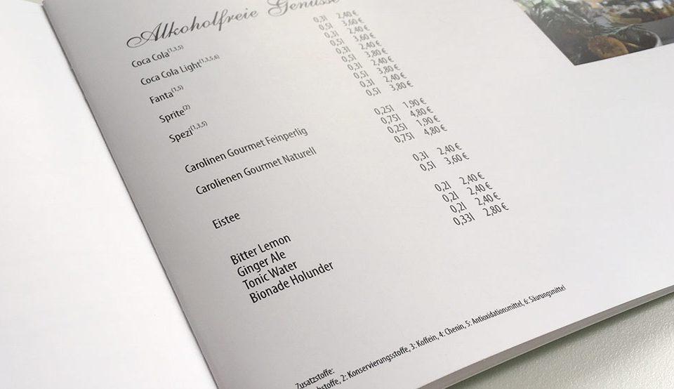 Speisekarte als Broschürendruck